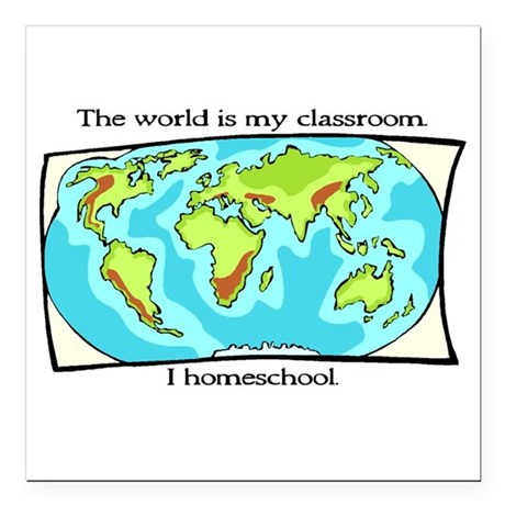 The World Is My Classroom Square Car Magnet