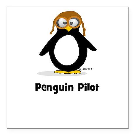 Penguin Pilot Square Car Magnet
