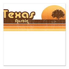 Austin Texas Brown Retro Square Car Magnet