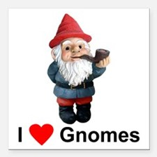 I Love Gnomes Square Car Magnet