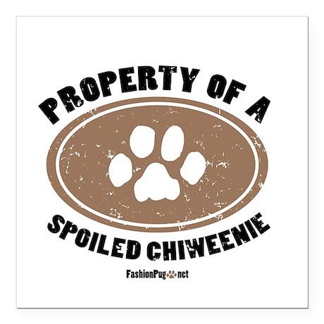Chiweenie dog Square Car Magnet
