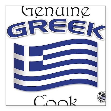 Genuine Greek Cook Square Car Magnet