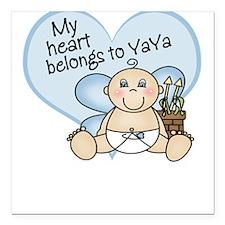 My Heart Belongs to YaYa BOY Square Car Magnet