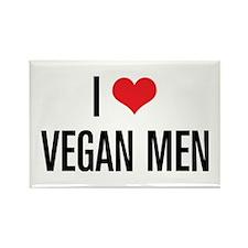 I Love Vegan Men Rectangle Magnet