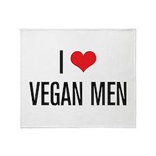 I Love Vegan Men Throw Blanket