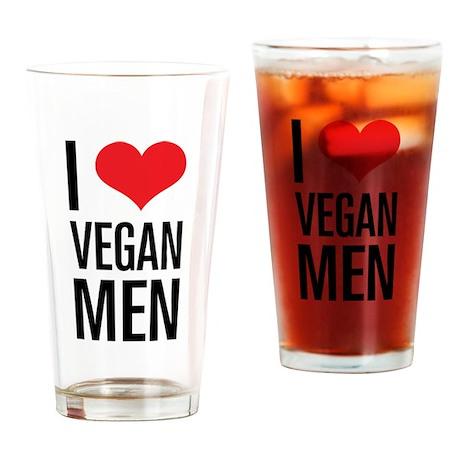 I Love Vegan Men Drinking Glass