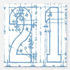 21 Blueprint Square Car Magnet