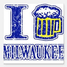 I BEER MILWAUKEE Square Car Magnet