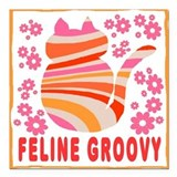 Cat feline groovy Square Car Magnets