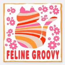 Feline Groovy (orange/pink) Square Car Magnet