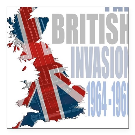 British Invasion Square Car Magnet