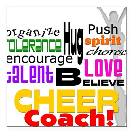 Cheer Coach Words Square Car Magnet