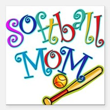 Softball Mom II Square Car Magnet