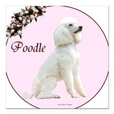 """Poodle in Pink"" Square Car Magnet"