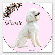 """Poodle in Pink"" Square Car Magnet"