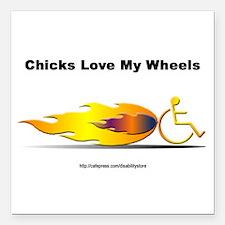 """Chicks Love"" Square Car Magnet"