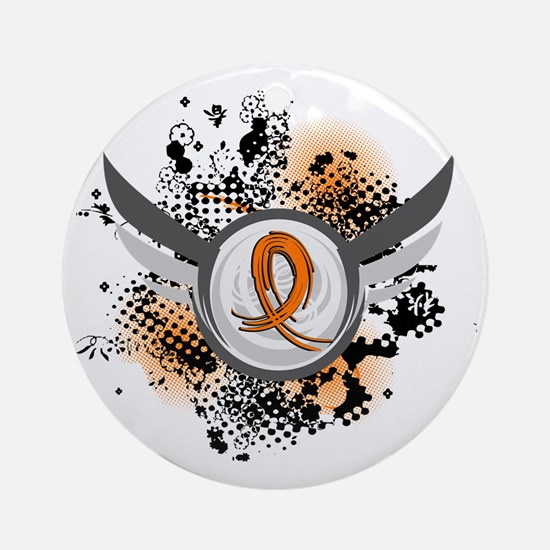 Wings and Ribbon Multiple Sclerosis Ornament (Roun
