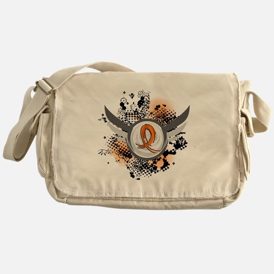 Wings and Ribbon Multiple Sclerosis Messenger Bag