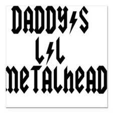 Daddy's Lil Metal Head Thunde Square Car Magnet