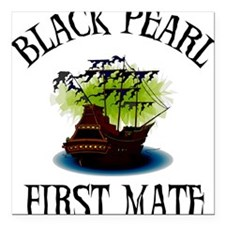 Black Pearl First Mate Square Car Magnet