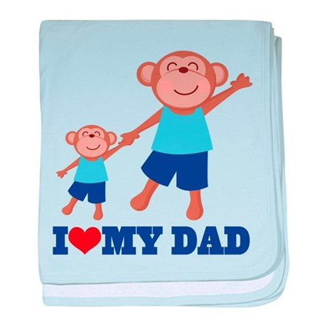 I Heart Dad Monkey baby blanket