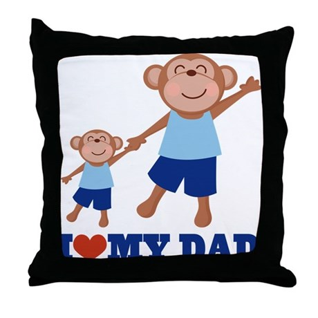 I Heart Dad Monkey Throw Pillow