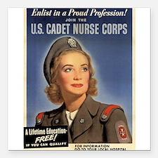 Wartime US Cadet Nurse Corps Square Car Magnet