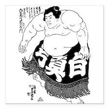Sumo Wrestler Square Car Magnet