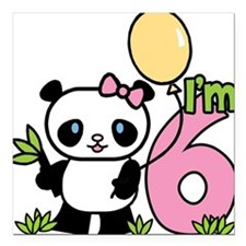 Lil' Panda Girl 6th Birthday Square Car Magnet