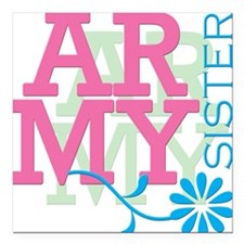 Army Sister - Pink Square Car Magnet