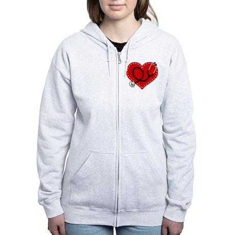 Doctor Nurse Heart Women's Zip Hoodie