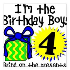 Fourth Birthday Square Car Magnet