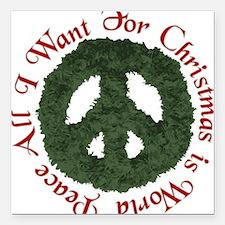 Christmas World Peace Square Car Magnet