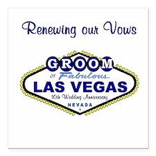 GROOM Renewing Vows Square Car Magnet