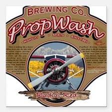 PW Brewing Co. Radial Red. Square Car Magnet