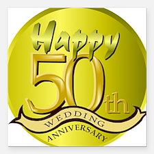 50th Wedding Anniversary Square Car Magnet