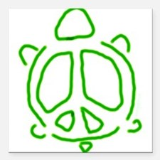 Peace turtle Square Car Magnet