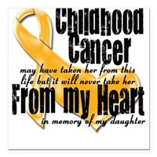 Daughter Childhood Cancer Square Car Magnet