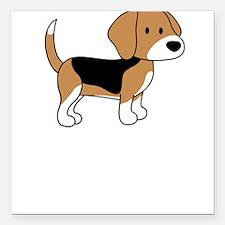 Cute Beagle Square Car Magnet