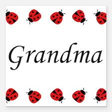 Grandma (ladybug) Square Car Magnet
