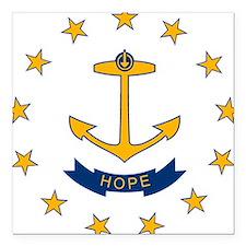 Rhode Island Flag Square Car Magnet