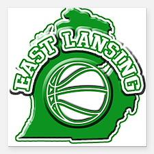 East Lansing Basketball Square Car Magnet