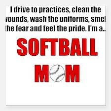 Softball Mom Square Car Magnet