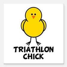 Triathlon Chick Square Car Magnet