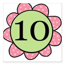 10 pink/green flower Square Car Magnet