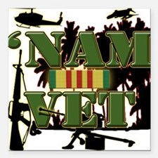 US Vietnam Veteran Square Car Magnet