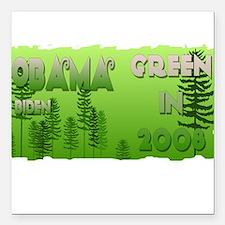 Green in 2008 Obama Square Car Magnet
