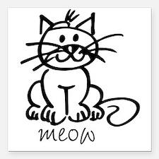 Meow Square Car Magnet