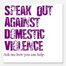 Purple Speak Out! Square Car Magnet