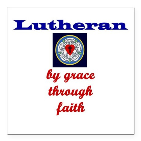 By Grace through Faith White Lutheran Square Car M